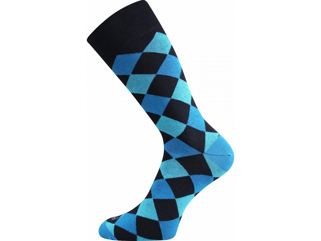 Ponožky WEAREL018 kosočtverce modrá A veselé obrázkové vtipné - (Barvy Modrá A, Velikosti ponožek 26-28 (39-42))