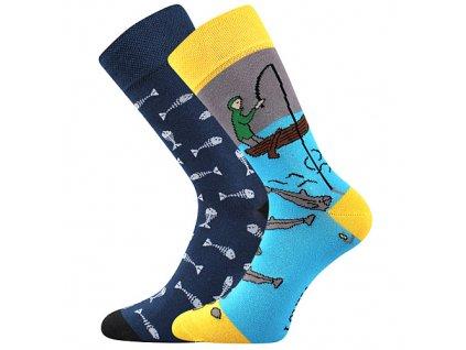 ponozky doble ryby rybar modra c vesele obrazkove vtipne superfit store
